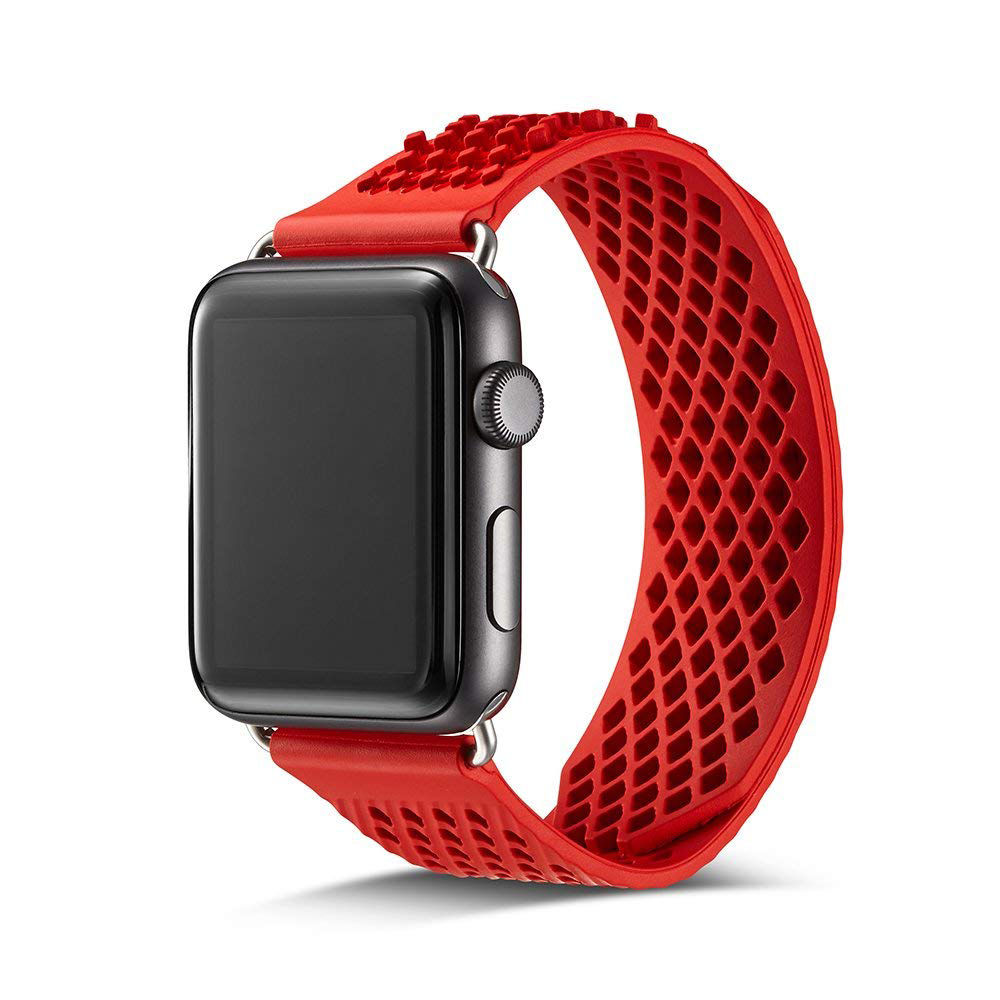 Soft Silicone Apple Watch Band, Sport Replacement Strap with Ventilation Holes for Apple Iwatch 42 mm All Models 3