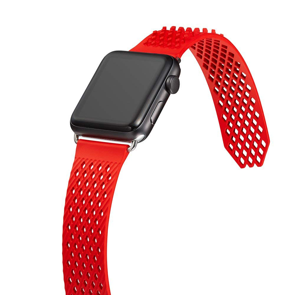Soft Silicone Apple Watch Band, Sport Replacement Strap with Ventilation Holes for Apple Iwatch 42 mm All Models 6
