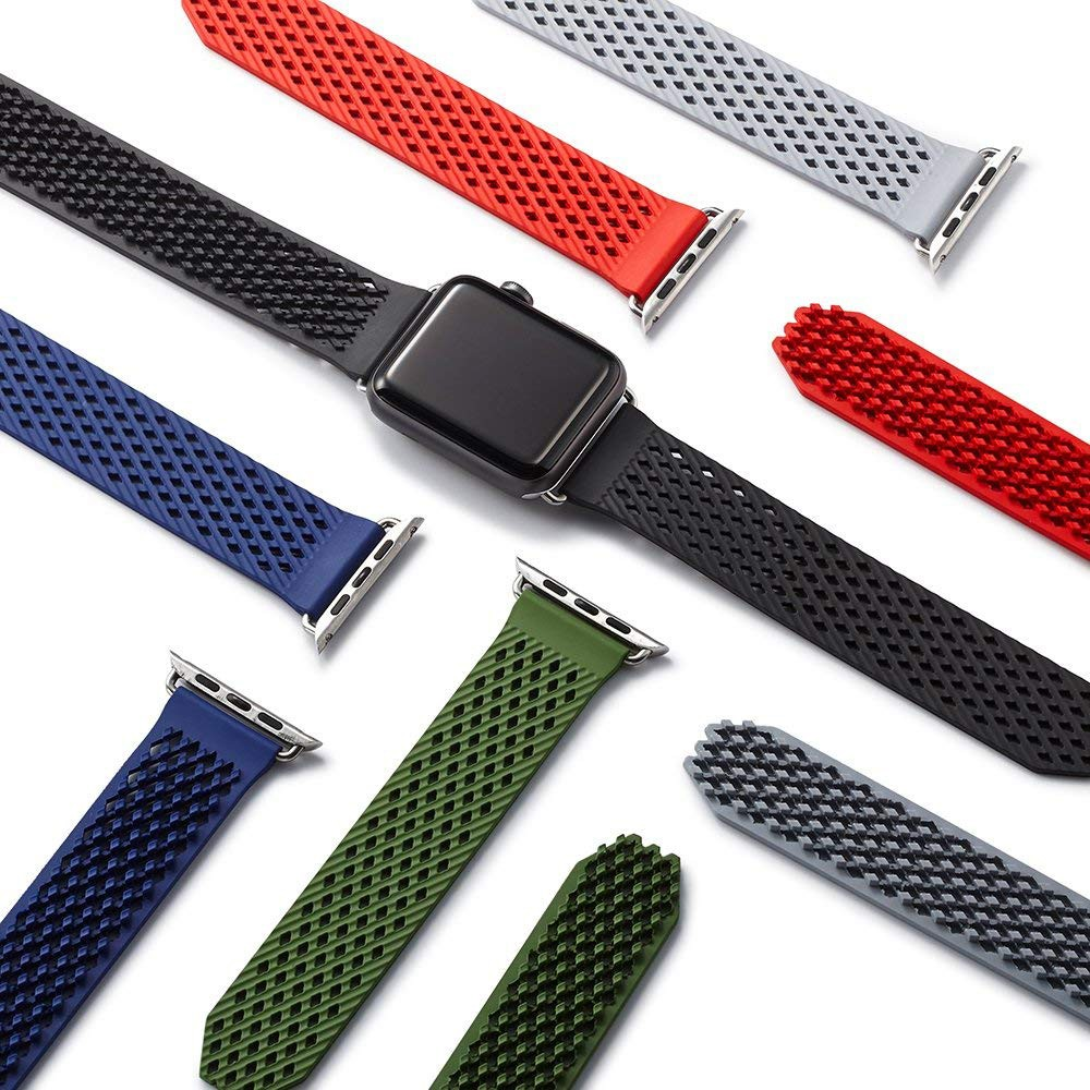 Soft Silicone Apple Watch Band, Sport Replacement Strap with Ventilation Holes for Apple Iwatch 42 mm All Models 5