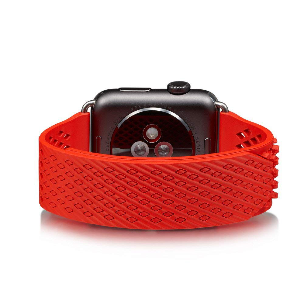 Soft Silicone Apple Watch Band, Sport Replacement Strap with Ventilation Holes for Apple Iwatch 42 mm All Models 8