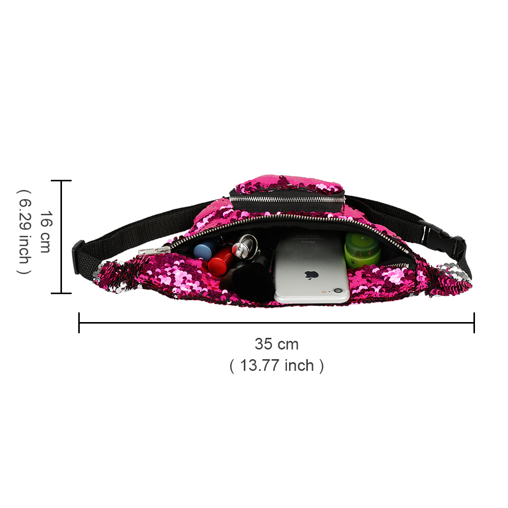 Shiny Waist Bag with Adjustable Strap for Women, Fashion Fanny Pack for Beach, Concert, Festival, Carnival 12