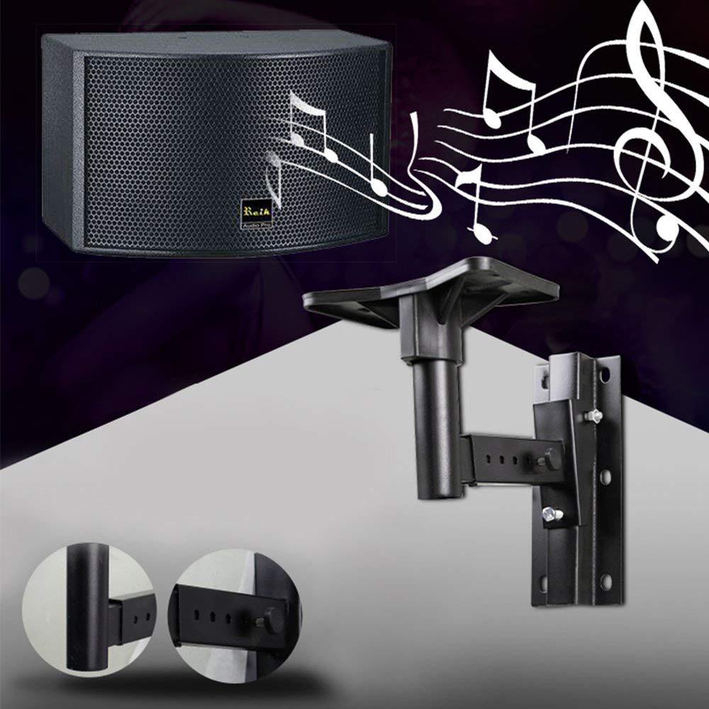 Universal Speaker Wall Mounts, Pair of Adjustable Side Clamping Bookshelf Speaker Mounting Brackets, 66 Lbs Capacity, Black 0