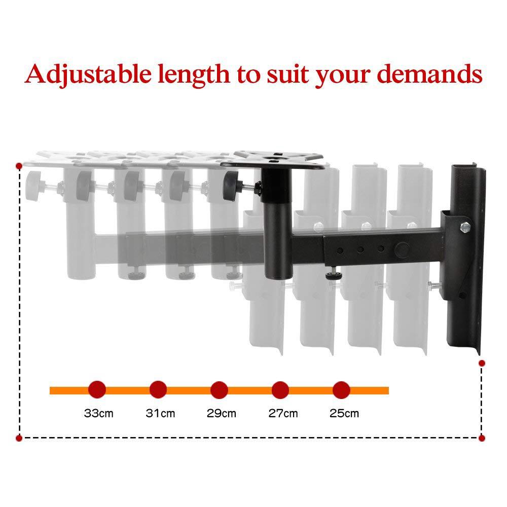 Universal Speaker Wall Mounts, Pair of Adjustable Side Clamping Bookshelf Speaker Mounting Brackets, 66 Lbs Capacity, Black 5