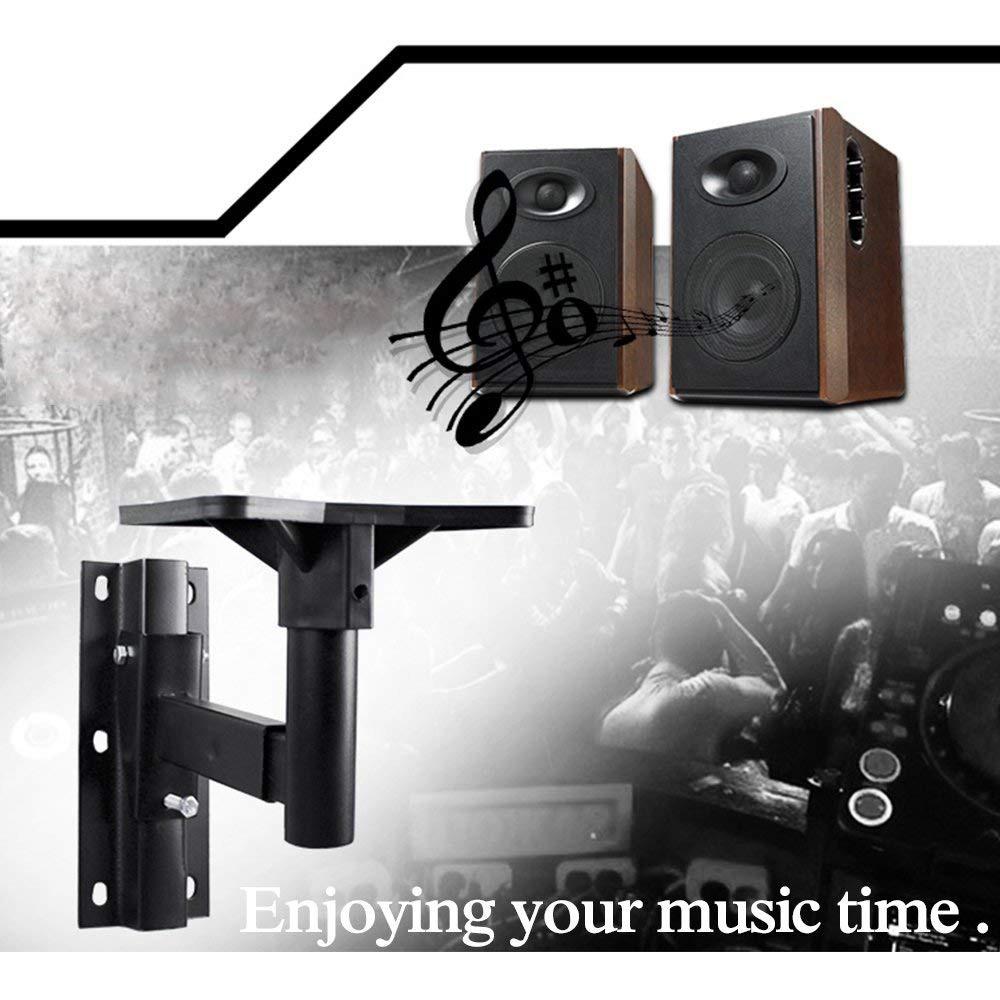 Universal Speaker Wall Mounts, Pair of Adjustable Side Clamping Bookshelf Speaker Mounting Brackets, 66 Lbs Capacity, Black 4