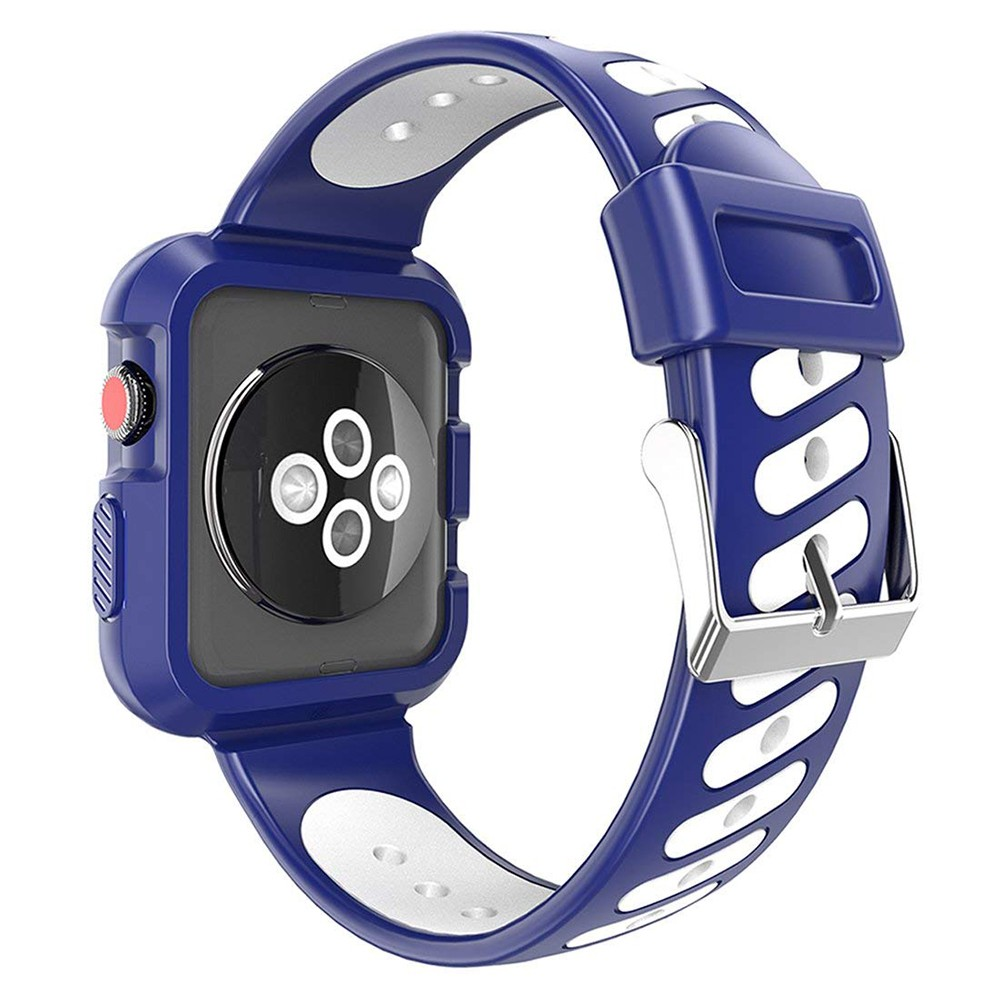Waterproof Apple Watch Band and Case 38mm, Sport Replacement Wristband and Bumper Protective Case for Apple Watch Series 3/2/1 4