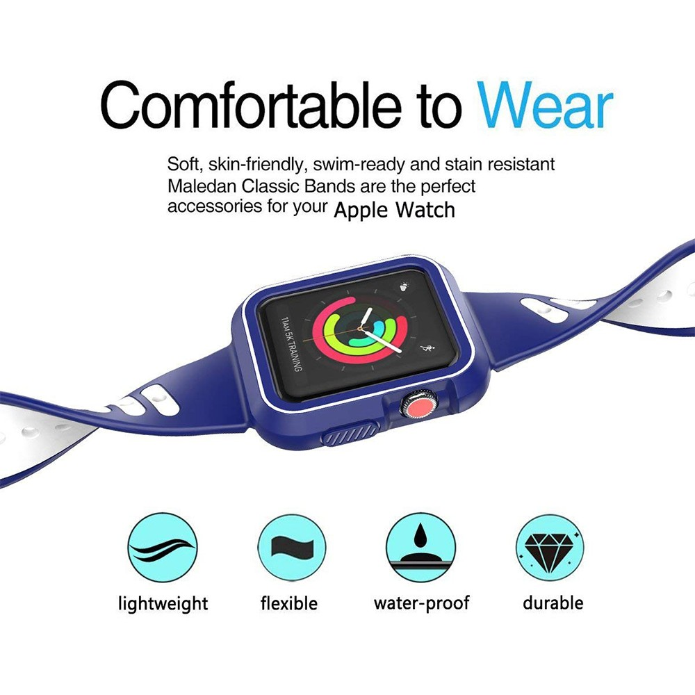 Waterproof Apple Watch Band and Case 38mm, Sport Replacement Wristband and Bumper Protective Case for Apple Watch Series 3/2/1 10
