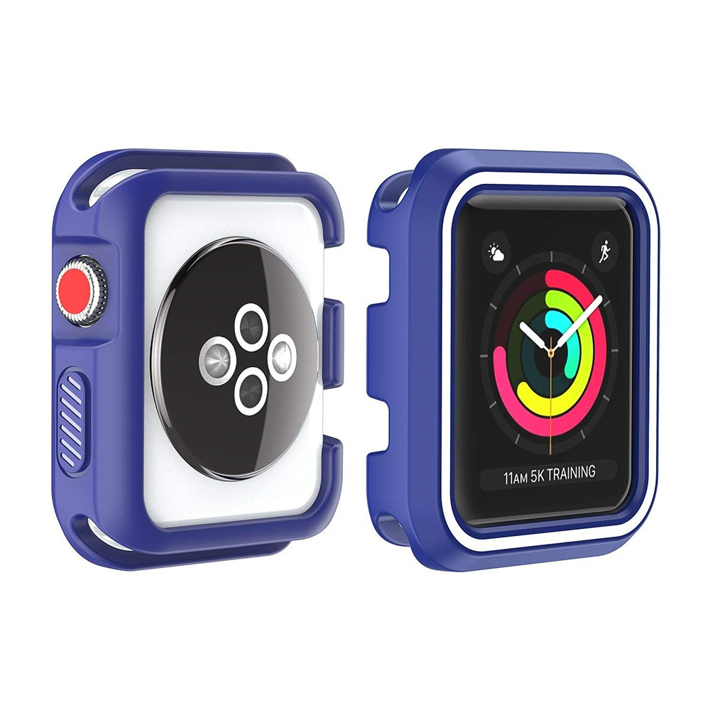 Waterproof Apple Watch Band and Case 38mm, Sport Replacement Wristband and Bumper Protective Case for Apple Watch Series 3/2/1 3