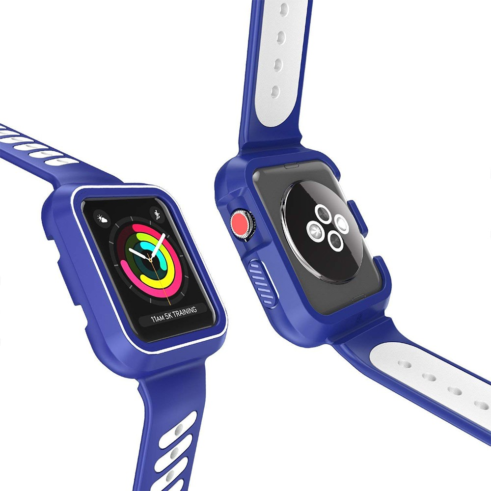 Waterproof Apple Watch Band and Case 38mm, Sport Replacement Wristband and Bumper Protective Case for Apple Watch Series 3/2/1 5