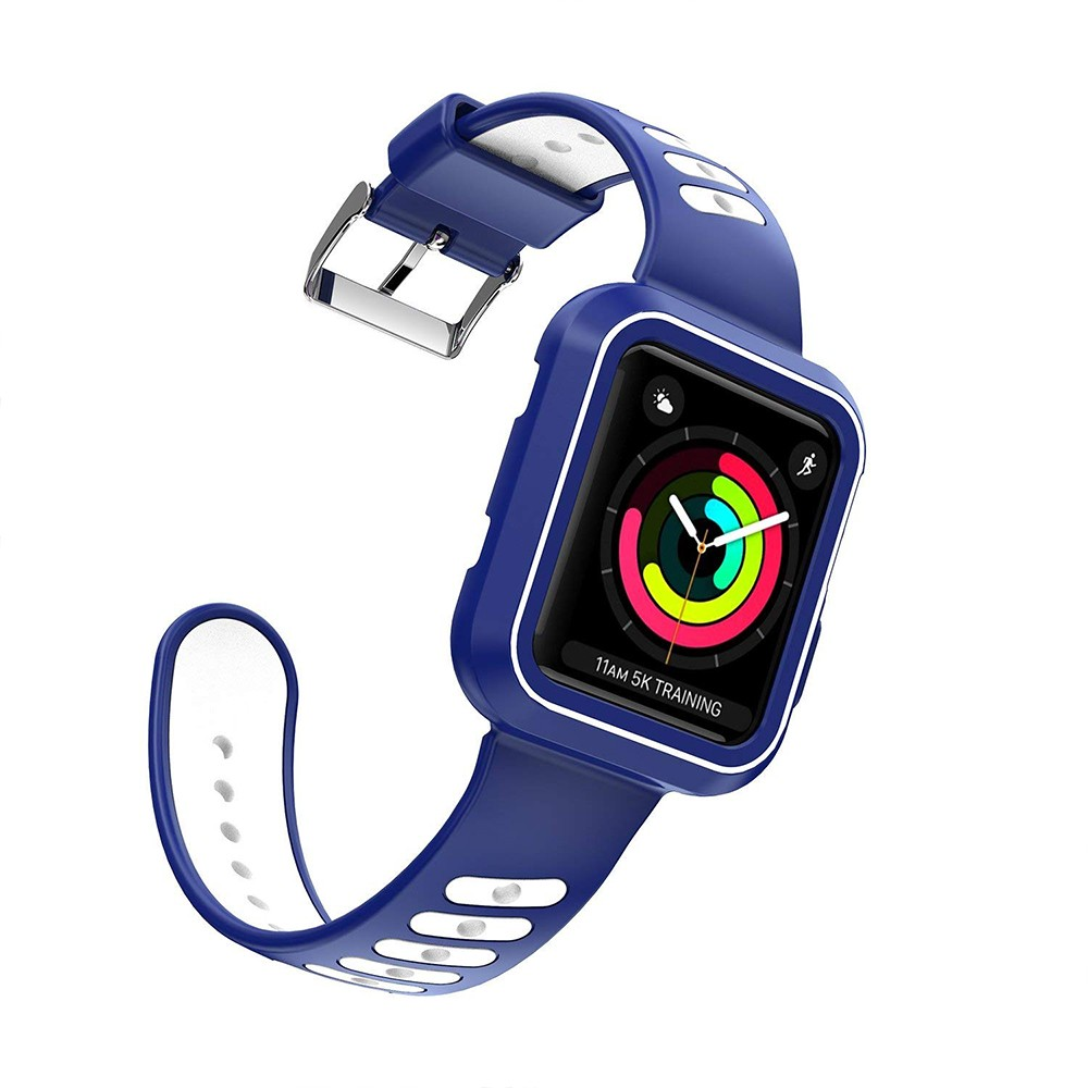 Waterproof Apple Watch Band and Case 38mm, Sport Replacement Wristband and Bumper Protective Case for Apple Watch Series 3/2/1 6