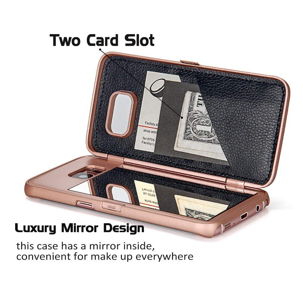 Galaxy S7 Edge Wallet Case With Mirror, Flip Case Cover with Card Slots & Stand for Samsung Galaxy S7 edge 11