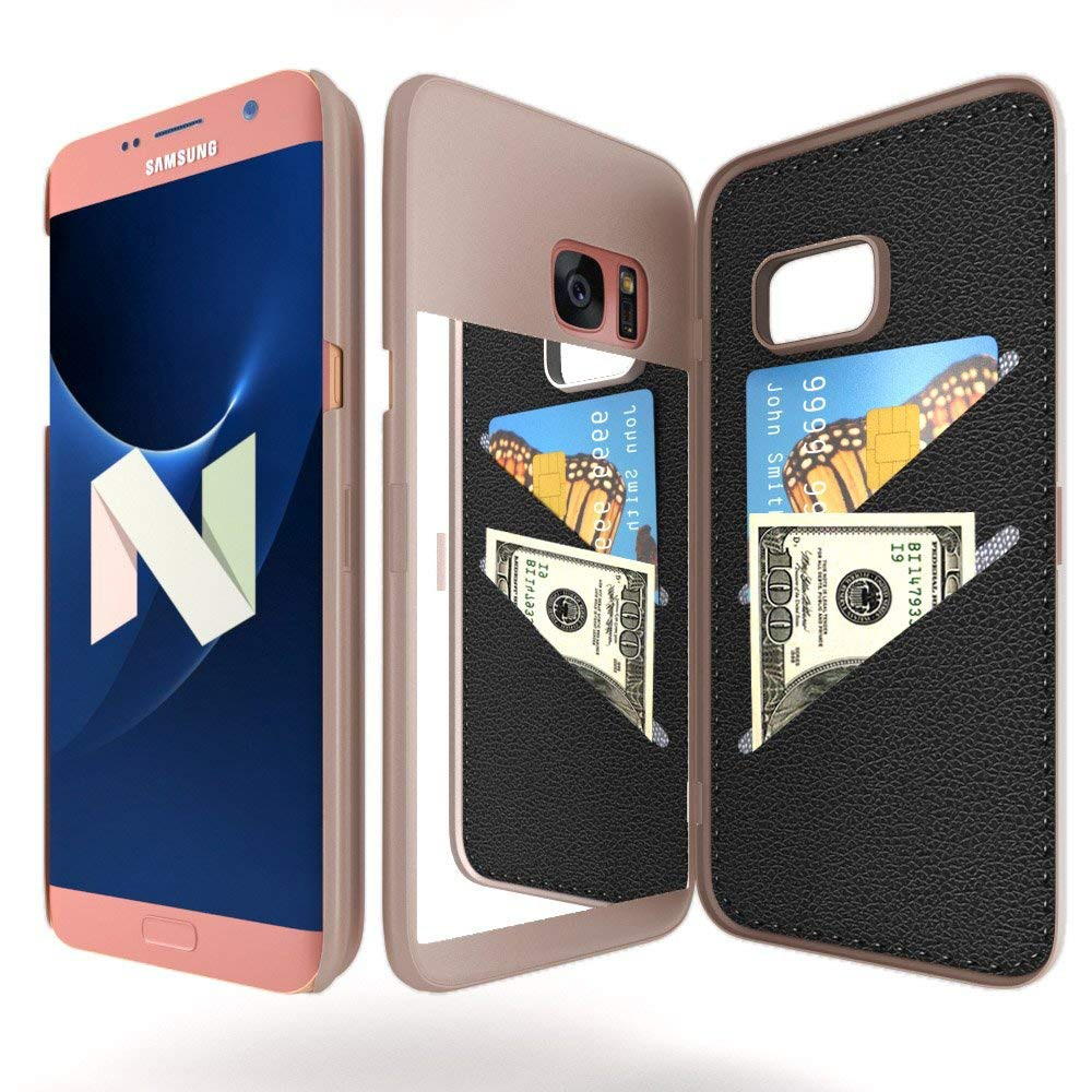 Galaxy S7 Edge Wallet Case With Mirror, Flip Case Cover with Card Slots & Stand for Samsung Galaxy S7 edge 14