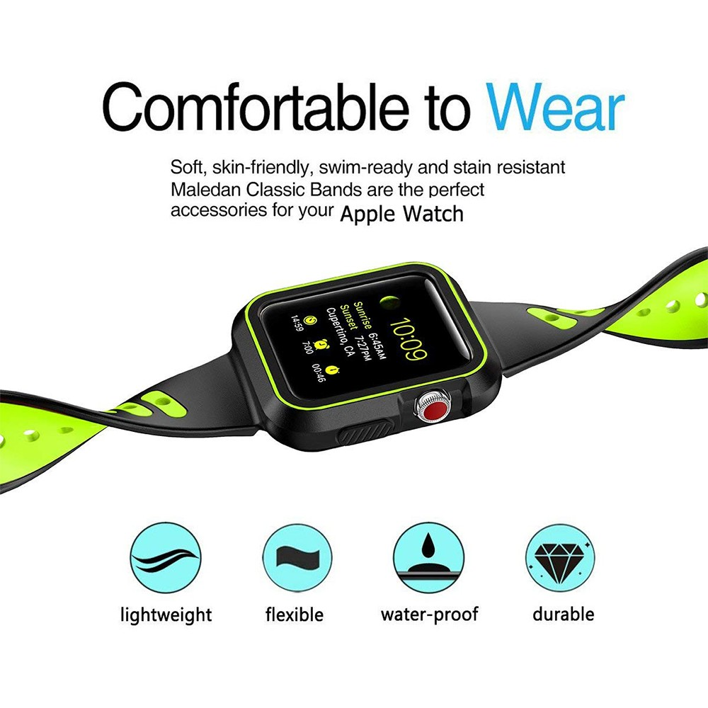 Waterproof Apple Watch Band and Case 38mm, Sport Replacement Wristband and Bumper Protective Case for Apple Watch Series 3/2/1 9