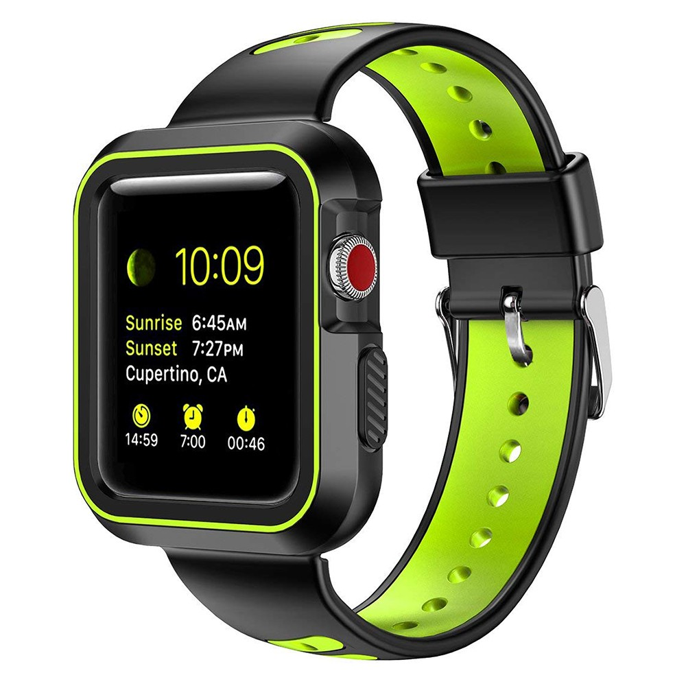 Waterproof Apple Watch Band and Case 38mm, Sport Replacement Wristband and Bumper Protective Case for Apple Watch Series 3/2/1 8