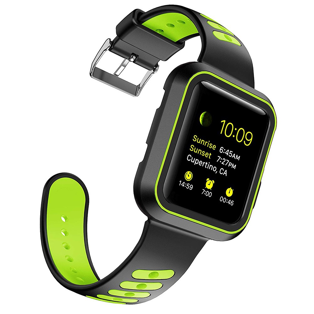 Waterproof Apple Watch Band and Case 38mm, Sport Replacement Wristband and Bumper Protective Case for Apple Watch Series 3/2/1 12