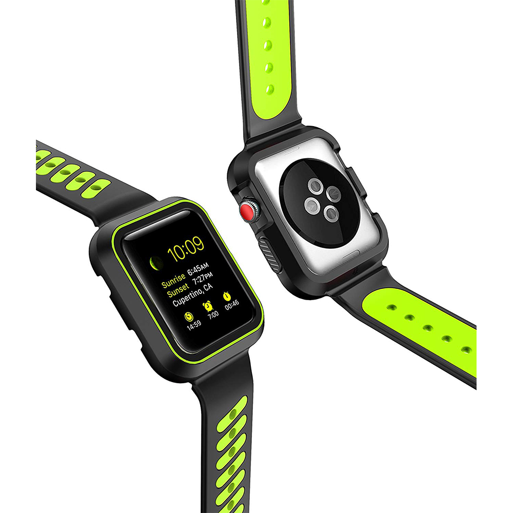 Waterproof Apple Watch Band and Case 38mm, Sport Replacement Wristband and Bumper Protective Case for Apple Watch Series 3/2/1 21