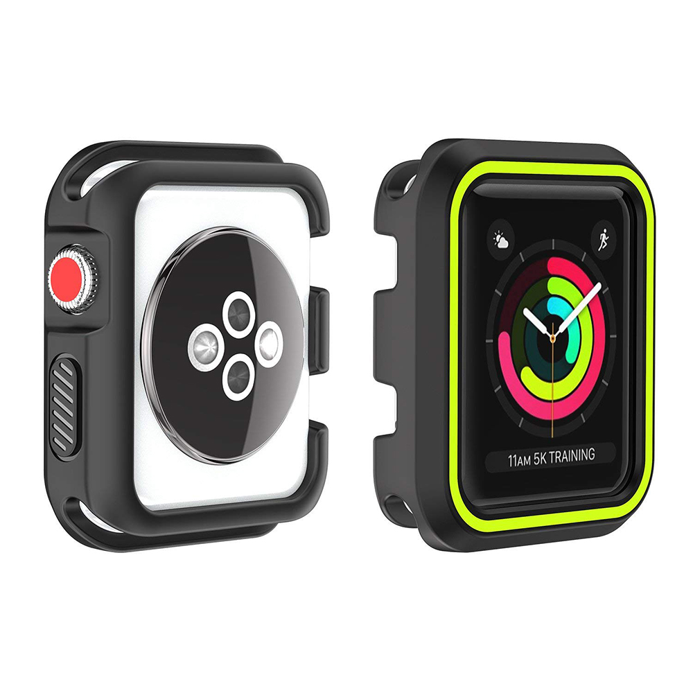 Waterproof Apple Watch Band and Case 38mm, Sport Replacement Wristband and Bumper Protective Case for Apple Watch Series 3/2/1 11