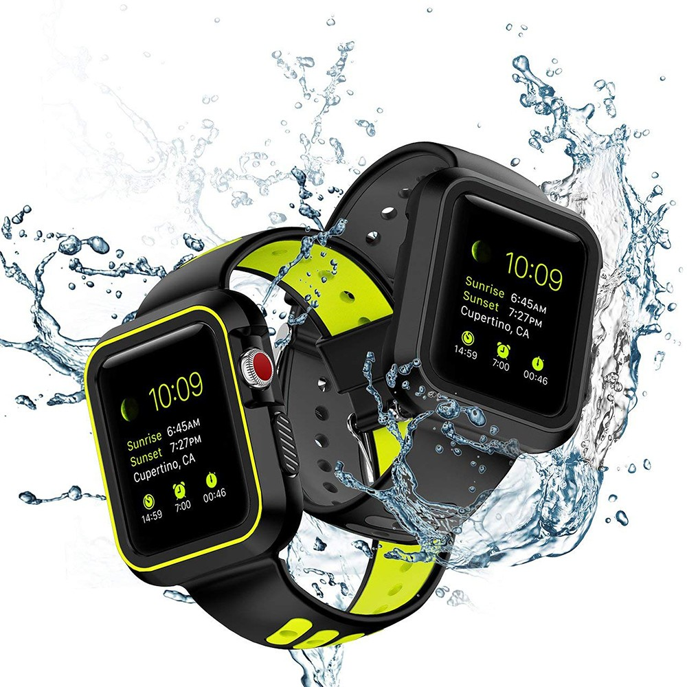Waterproof Apple Watch Band and Case 38mm, Sport Replacement Wristband and Bumper Protective Case for Apple Watch Series 3/2/1 14