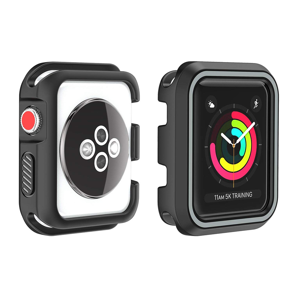 Waterproof Apple Watch Band and Case 38mm, Sport Replacement Wristband and Bumper Protective Case for Apple Watch Series 3/2/1 24