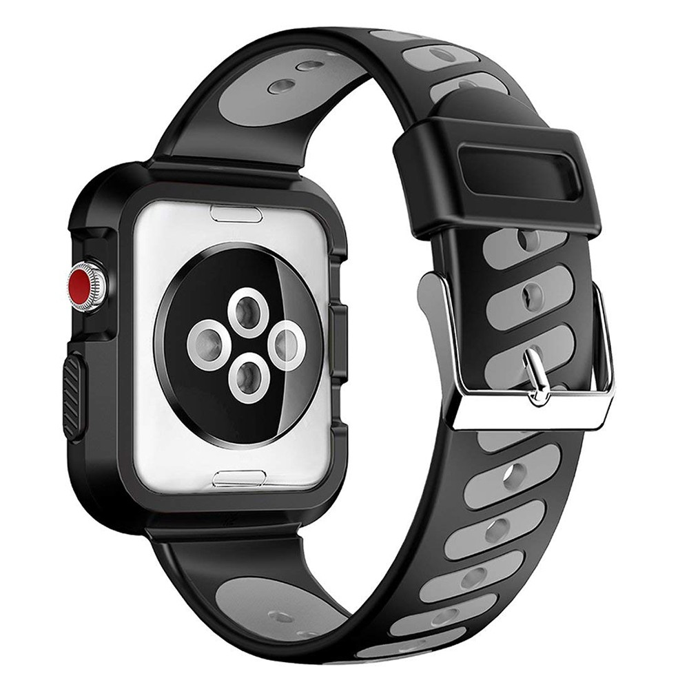 Waterproof Apple Watch Band and Case 38mm, Sport Replacement Wristband and Bumper Protective Case for Apple Watch Series 3/2/1 15