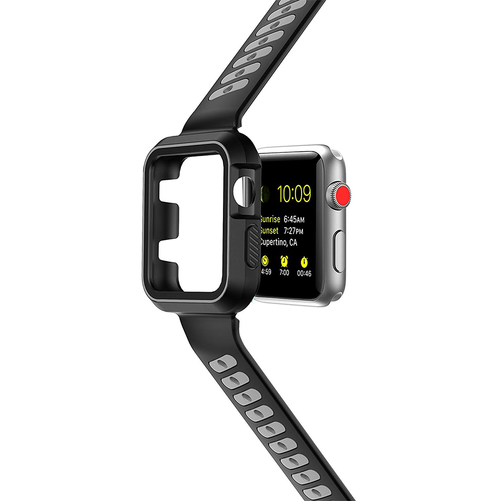 Waterproof Apple Watch Band and Case 38mm, Sport Replacement Wristband and Bumper Protective Case for Apple Watch Series 3/2/1 28