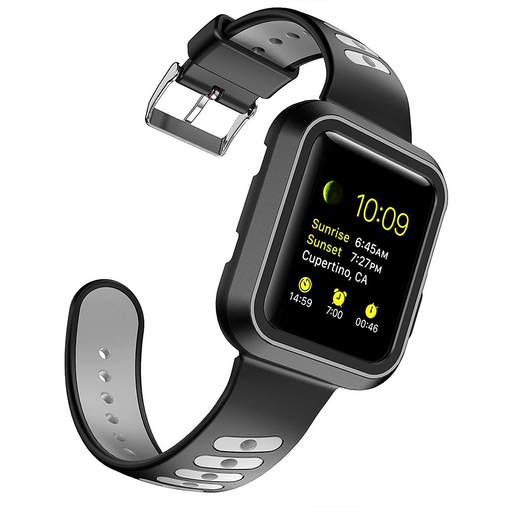 Waterproof Apple Watch Band and Case 38mm, Sport Replacement Wristband and Bumper Protective Case for Apple Watch Series 3/2/1 18
