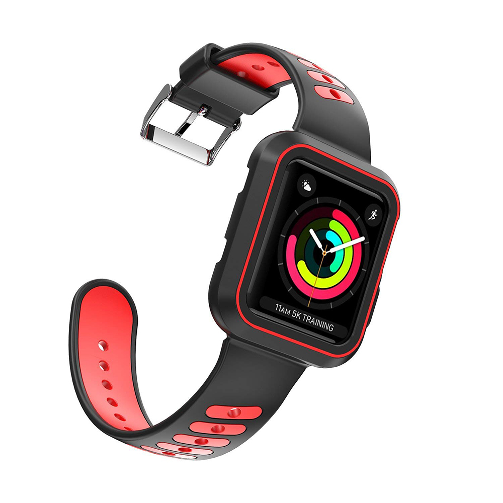 Waterproof Apple Watch Band and Case 38mm, Sport Replacement Wristband and Bumper Protective Case for Apple Watch Series 3/2/1 32