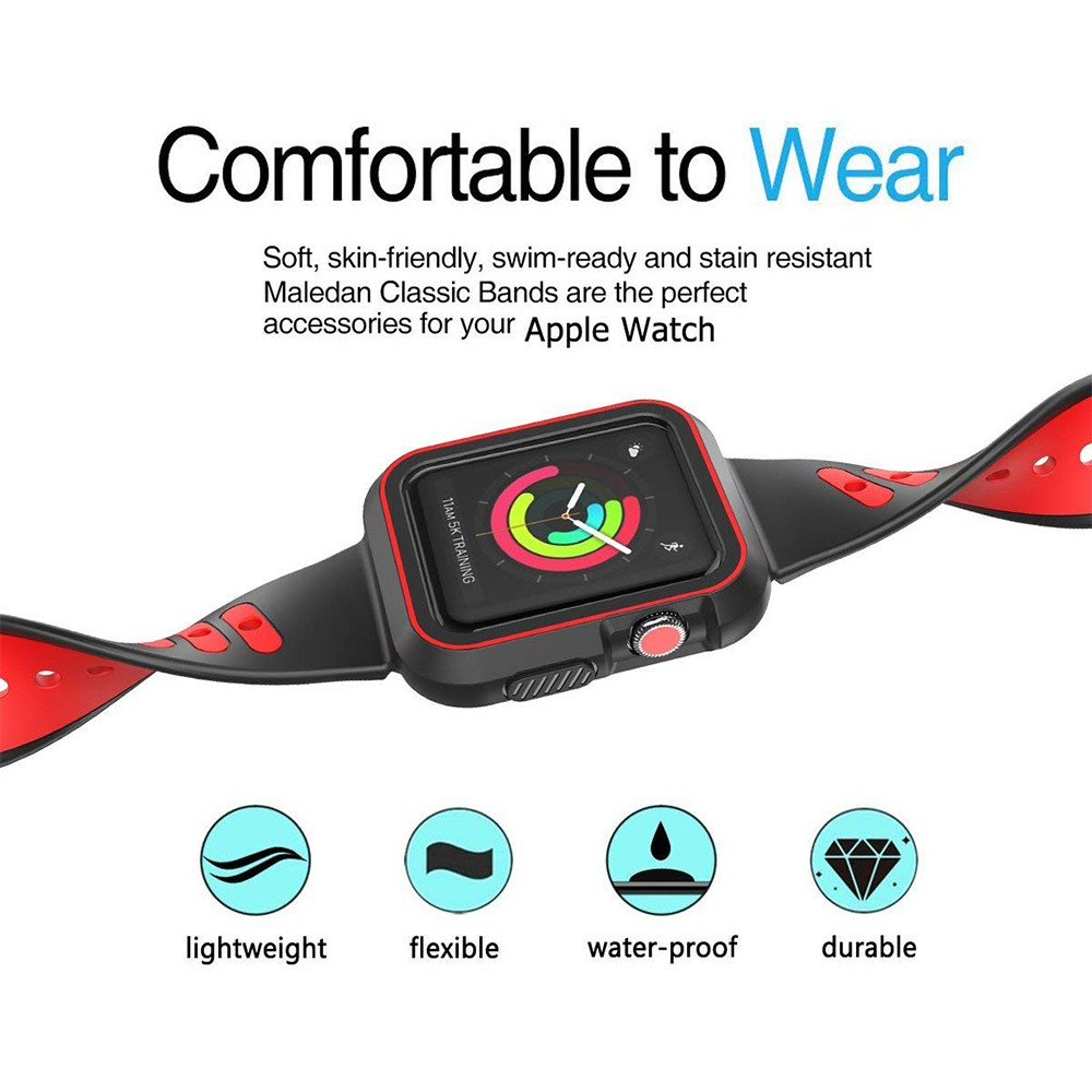 Waterproof Apple Watch Band and Case 38mm, Sport Replacement Wristband and Bumper Protective Case for Apple Watch Series 3/2/1 30