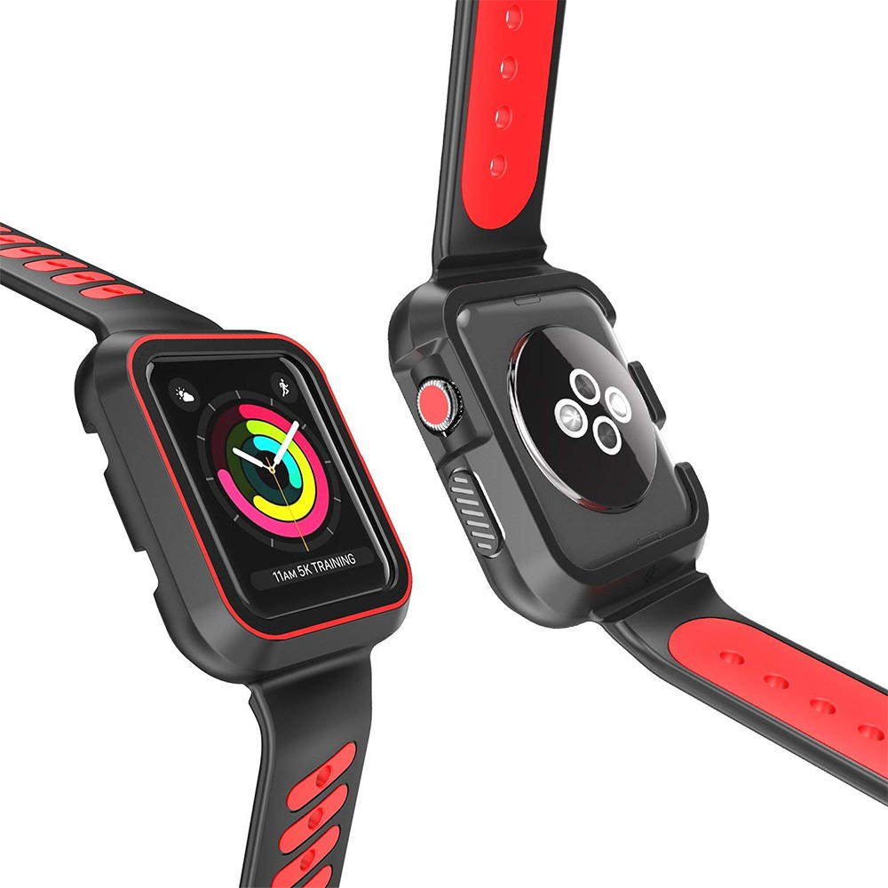 Waterproof Apple Watch Band and Case 38mm, Sport Replacement Wristband and Bumper Protective Case for Apple Watch Series 3/2/1 36