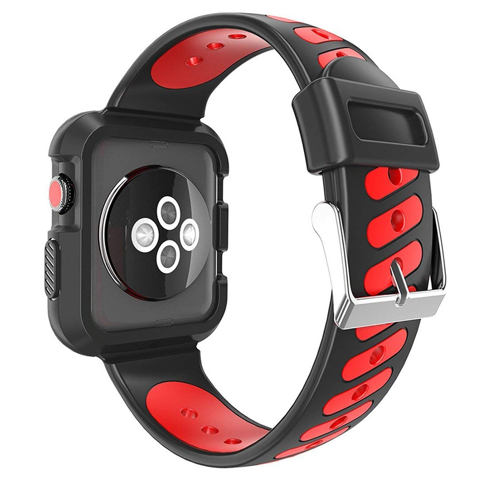 Waterproof Apple Watch Band and Case 38mm, Sport Replacement Wristband and Bumper Protective Case for Apple Watch Series 3/2/1 34