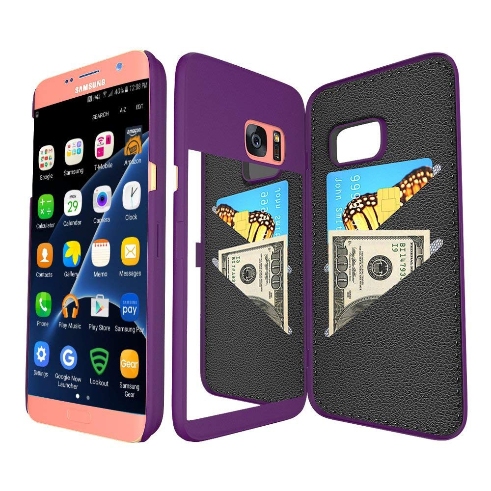 Galaxy S7 Edge Wallet Case With Mirror, Flip Case Cover with Card Slots & Stand for Samsung Galaxy S7 edge 22