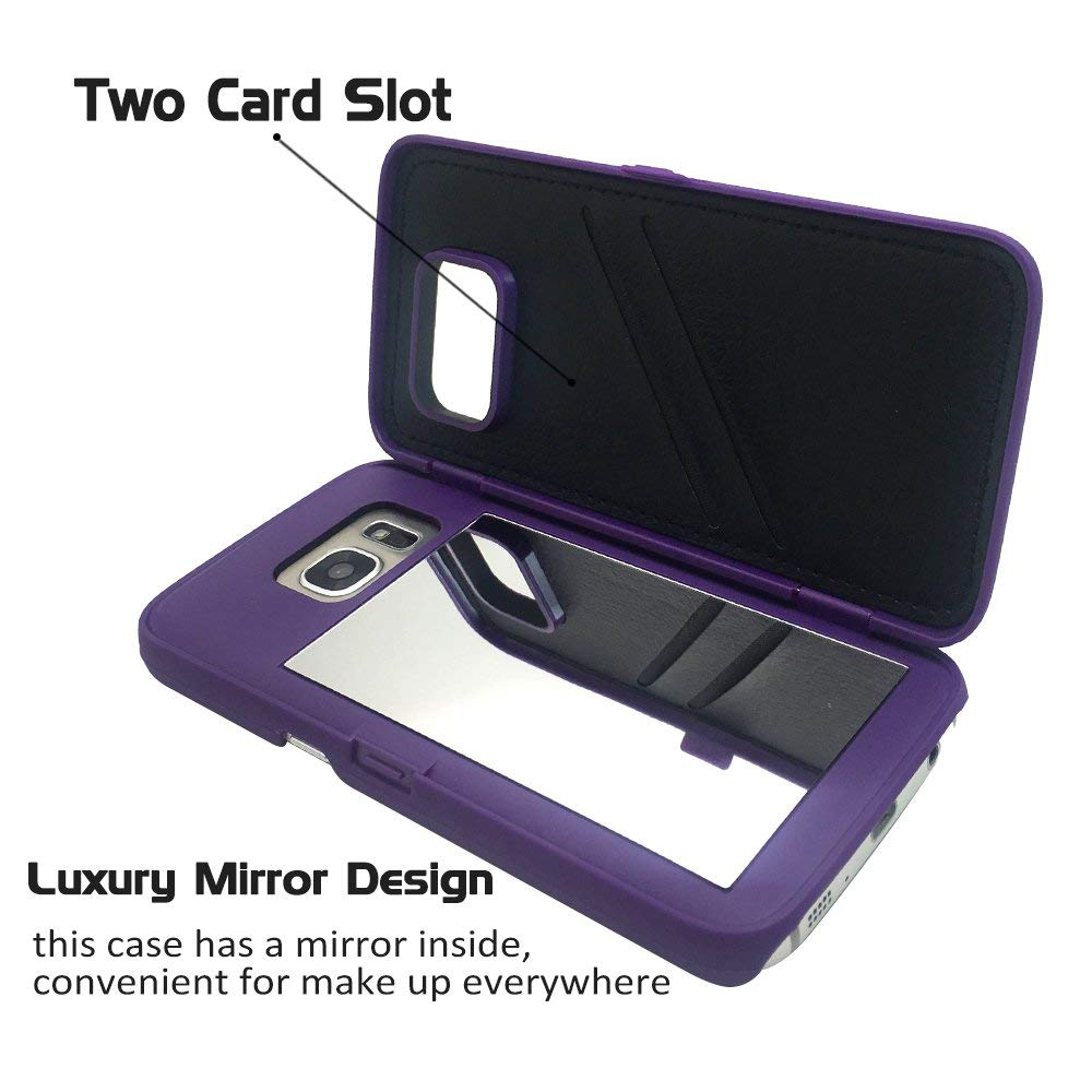 Galaxy S7 Edge Wallet Case With Mirror, Flip Case Cover with Card Slots & Stand for Samsung Galaxy S7 edge 23