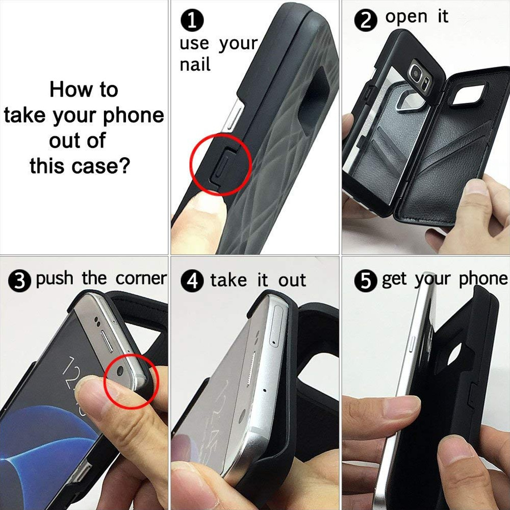 Galaxy S7 Edge Wallet Case With Mirror, Flip Case Cover with Card Slots & Stand for Samsung Galaxy S7 edge 30