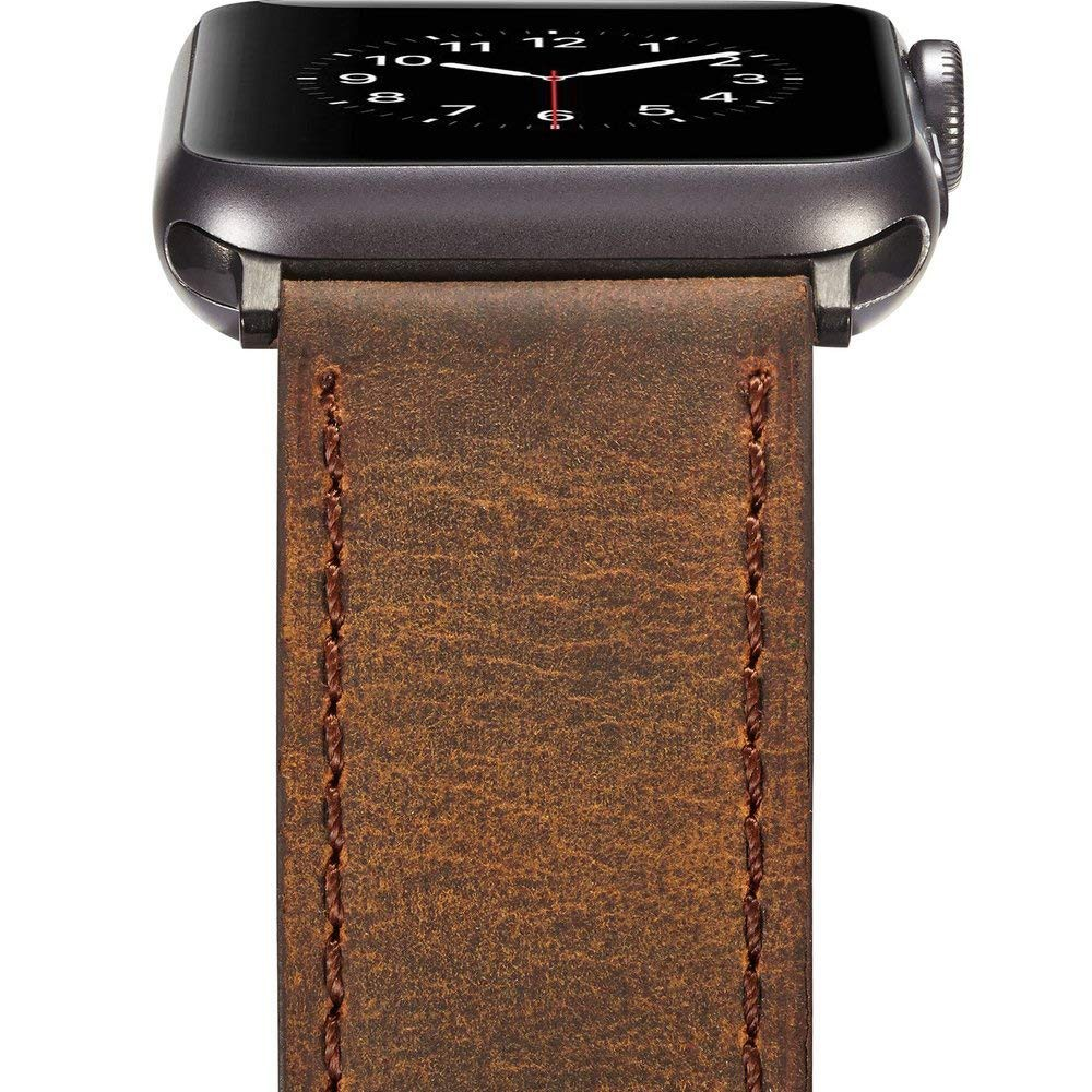 Genuine Leather Apple Watch Band 42mm, Replacement Watchbands with Metal Black Clasp for Apple Watch Series 3/2/1 14