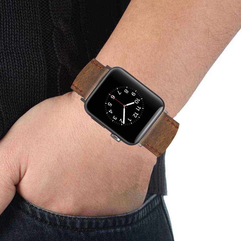 Genuine Leather Apple Watch Band 42mm, Replacement Watchbands with Metal Black Clasp for Apple Watch Series 3/2/1 16