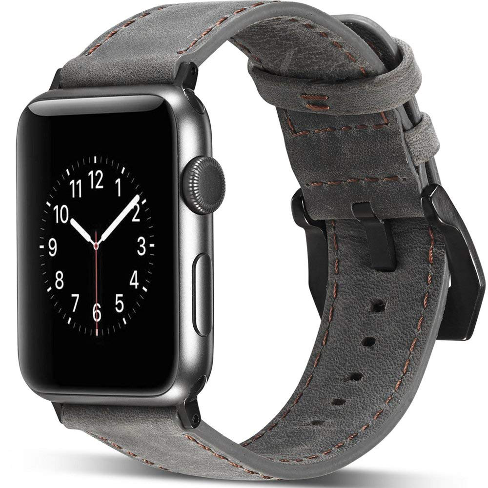 Genuine Leather Apple Watch Band 42mm, Replacement Watchbands with Metal Black Clasp for Apple Watch Series 3/2/1 8