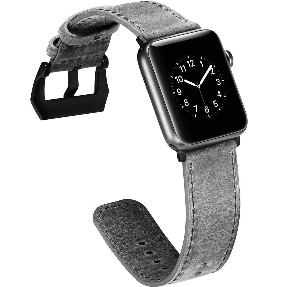 Genuine Leather Apple Watch Band 42mm, Replacement Watchbands with Metal Black Clasp for Apple Watch Series 3/2/1 11