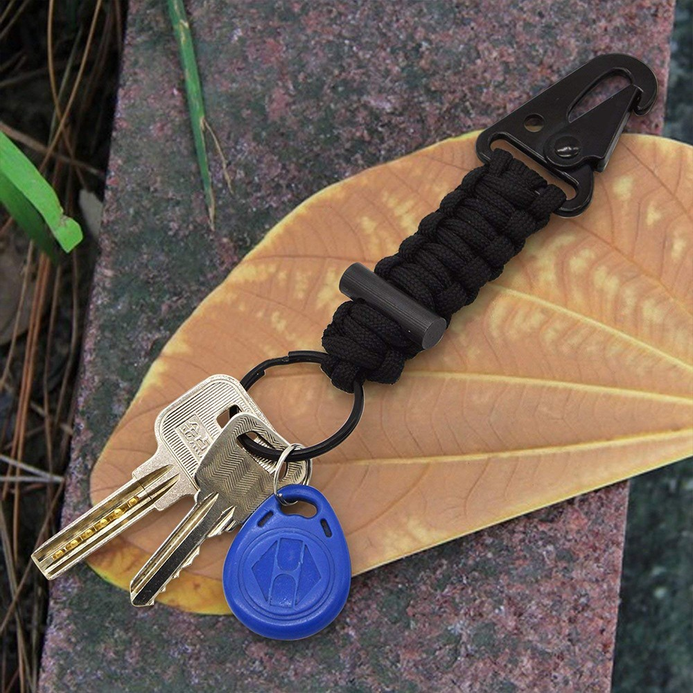 Paracord Survival Keychain with Firestarter and Carabiner, Survival Kit EDC Paracord Keychain for Adventure,Camping, Hiking,Hunting,Travel 6