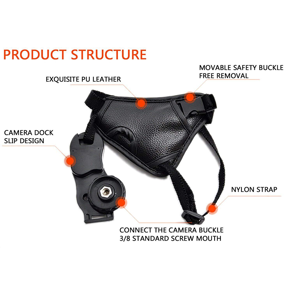 Hand Grip Strap for DSLR Cameras, Camera Padded Wrist Grip Strap for Prevents Droppage and Stabilizes Video 3
