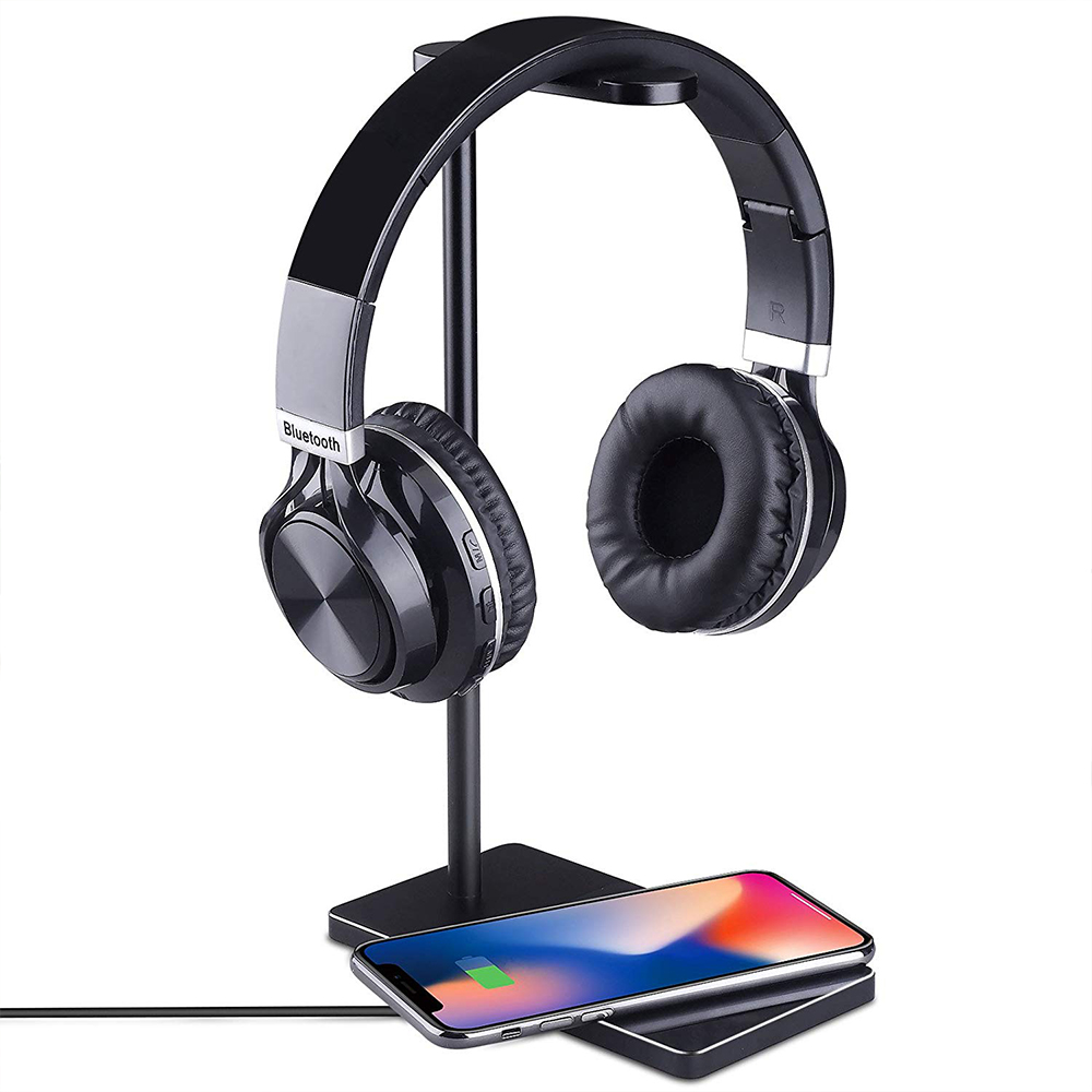 Fast Wireless Phone Charger Stand, 2-in-1 Wireless Charging Pad iPhone Station Headphone Holder 2