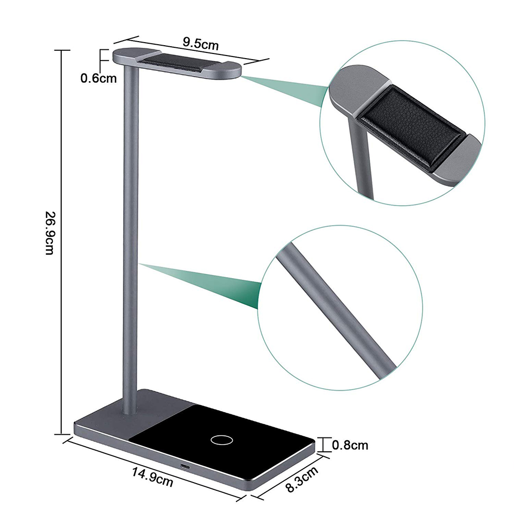 Fast Wireless Phone Charger Stand, 2-in-1 Wireless Charging Pad iPhone Station Headphone Holder 3