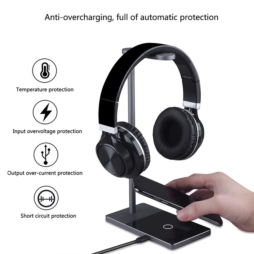 Fast Wireless Phone Charger Stand, 2-in-1 Wireless Charging Pad iPhone Station Headphone Holder 4