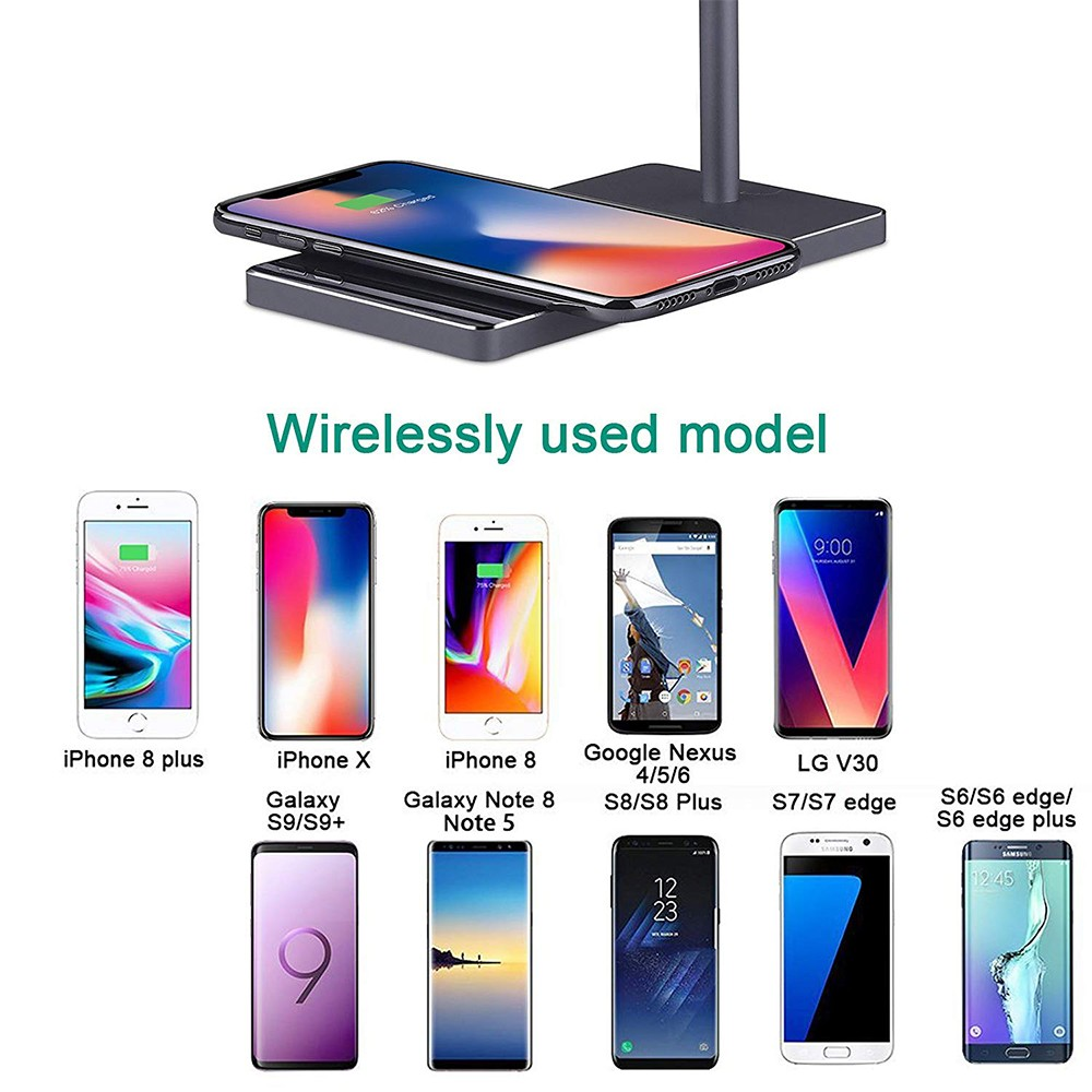 Fast Wireless Phone Charger Stand, 2-in-1 Wireless Charging Pad iPhone Station Headphone Holder 8