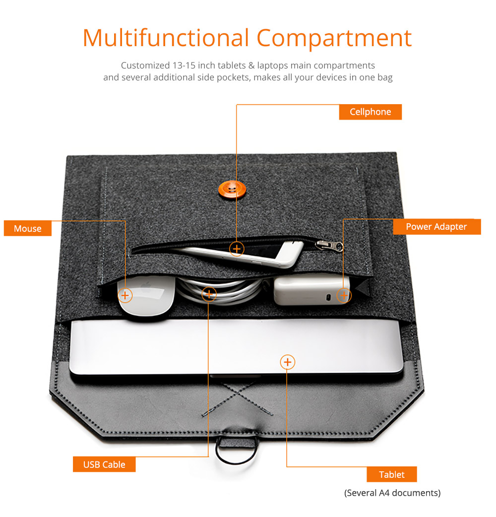 New Arrival Fashionable Briefcase 13-15 inch Laptop Accessories Laptop Case Cover, Durable Clutch Handbag fits for Macbook Pro 13.3'' Apple Air 13'' 9
