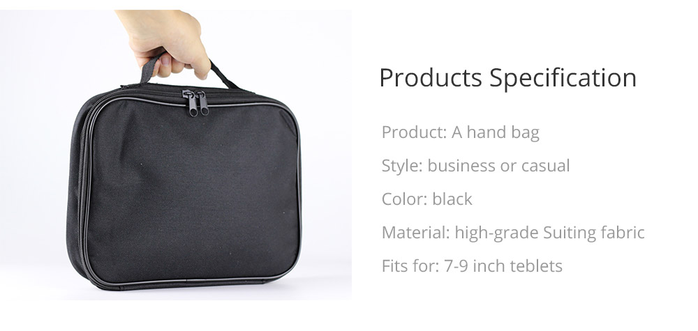Tablets Accessories Black Case Cover for 7-9 inch iPad, Large Capacity Durable Hand Bag Briefcase Compatible for iPad Mini 4, iPad Mini 3, iPad Mini 2 13