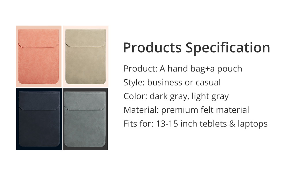 Newest Stylish 11-15 inch Protetive Case Laptop Accessories Cover with Pouch, Durable Nubuck Leather Sleeve Bag Briefcase with Storage Bag for Macbook 24