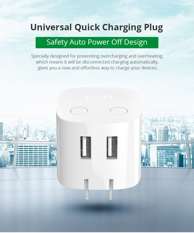 Universal Auto Power Off Quick Charger Plug for iPad Samsung Galaxy Tab, Practical USB Charger Adapter Compatible for iPhone & Android Devices 6