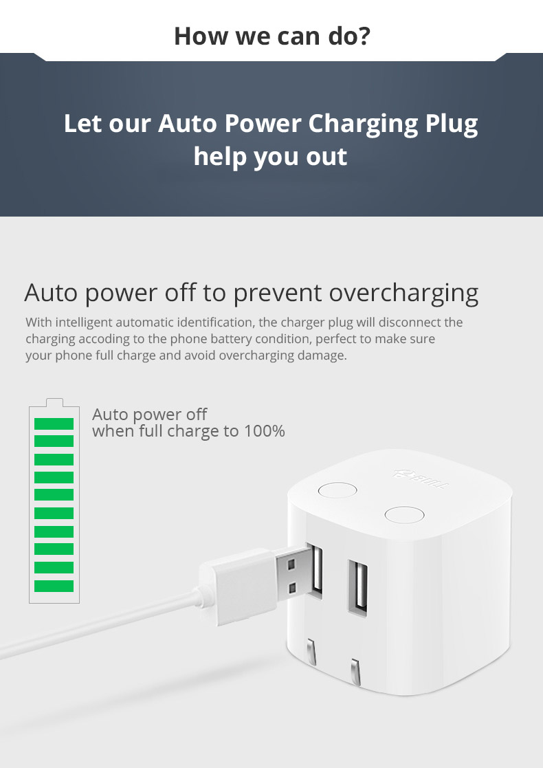 Universal Auto Power Off Quick Charger Plug for iPad Samsung Galaxy Tab, Practical USB Charger Adapter Compatible for iPhone & Android Devices 8