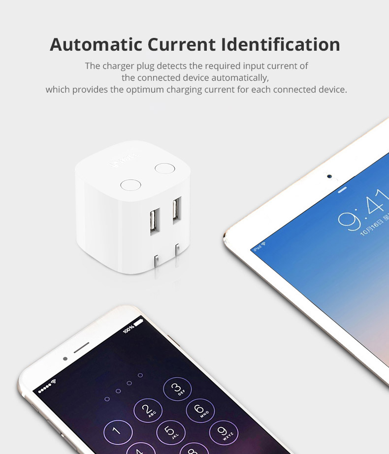 Universal Auto Power Off Quick Charger Plug for iPad Samsung Galaxy Tab, Practical USB Charger Adapter Compatible for iPhone & Android Devices 10