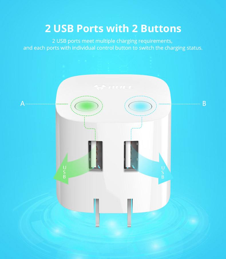 Universal Auto Power Off Quick Charger Plug for iPad Samsung Galaxy Tab, Practical USB Charger Adapter Compatible for iPhone & Android Devices 11