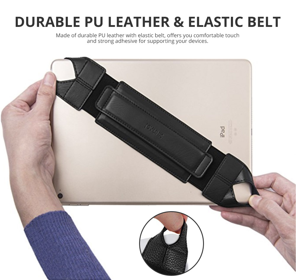 Universal PU Leather Hand Strap Holder for Phones Tablets, 360 Degrees Swivel Leather Handle Grip with Elastic Belt for 9.7 inches Pad and 10.1 inches iPad or Android devices 8